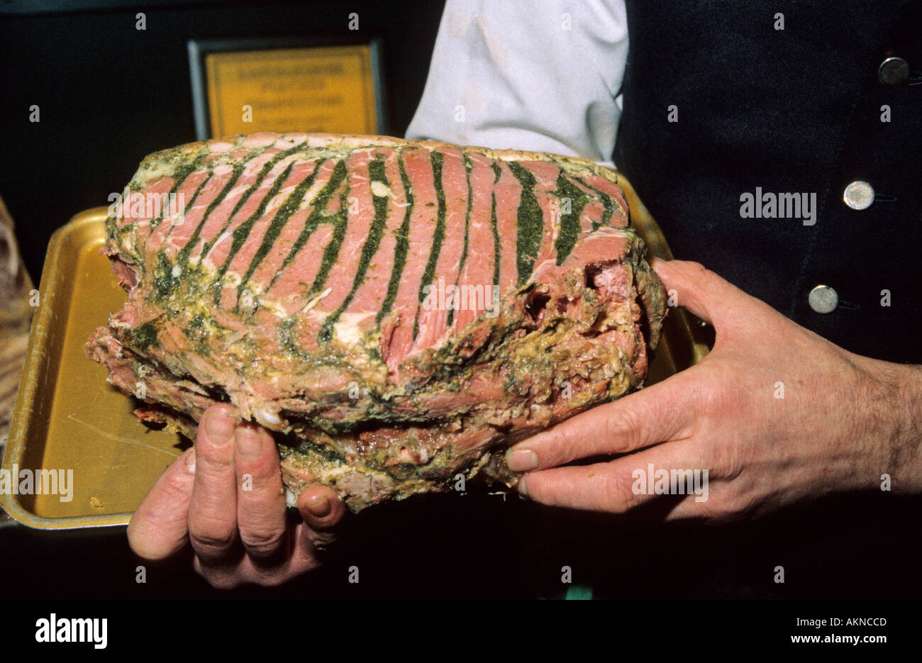 Stuffed Lincolnshire chine is a Lincolnshire food speciality. - Stock Image