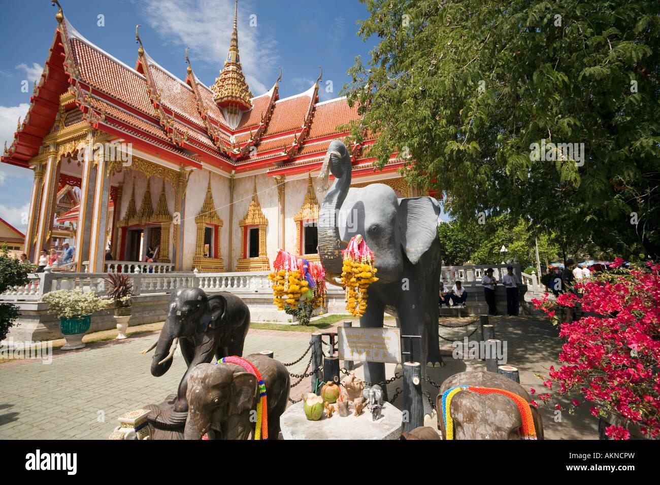 Elephants near of Ubosot Wat Chalong Phuket Thailand Stock Photo