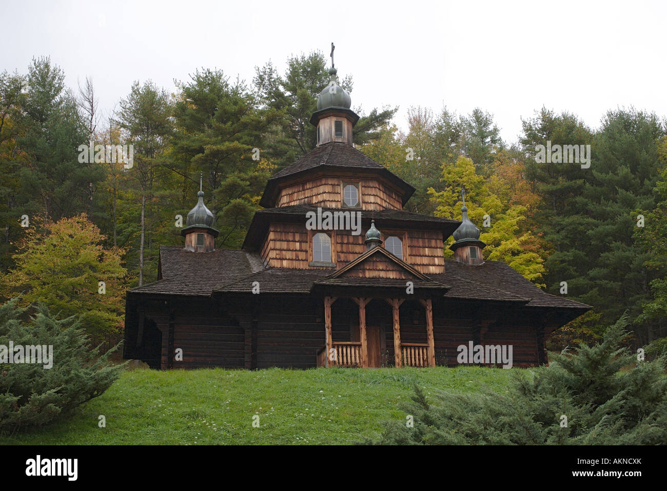 St John the Baptist Ukranian Catholic Church. Highway 23A, Catskill Mountains, New York State, USA - Stock Image