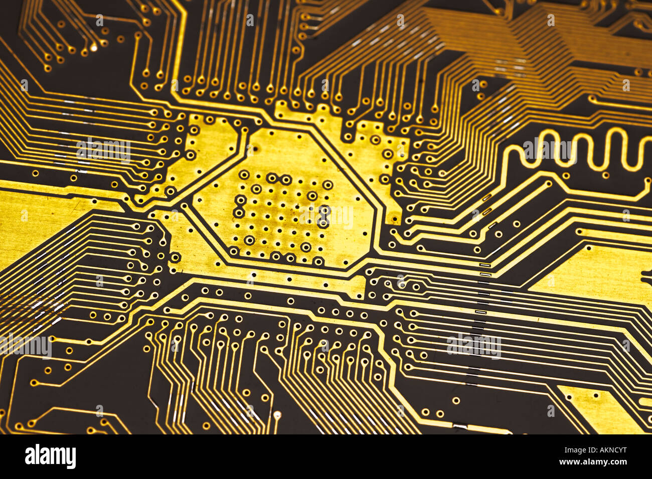 close up photograph of gold coloured digital computer circuit board