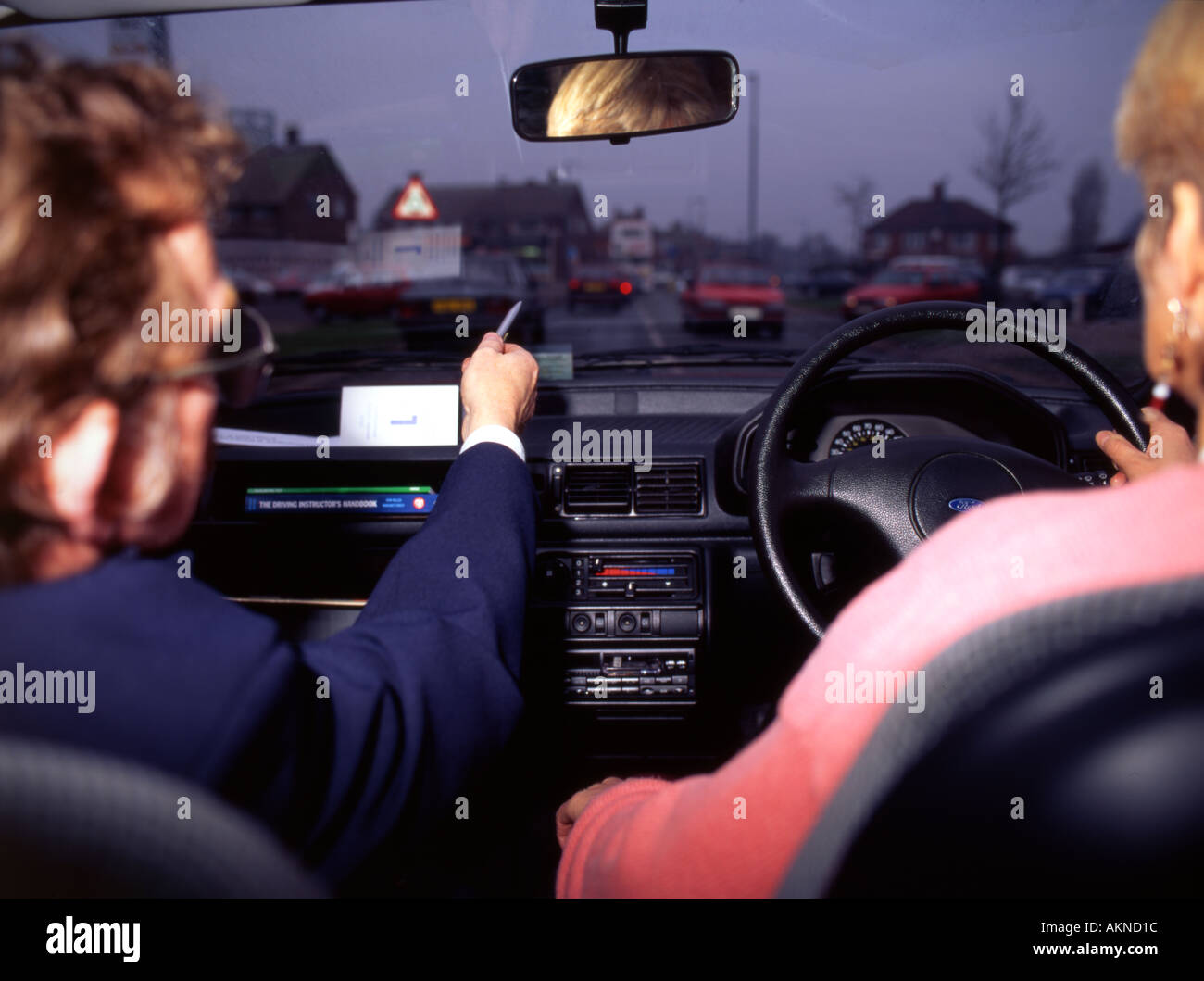 Driving Instruction in car - Stock Image