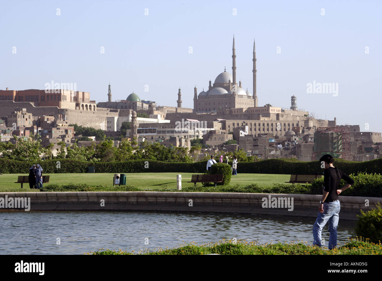 Al-azhar park in cairo & Muhammad Ali mosque at citadel - Stock Image