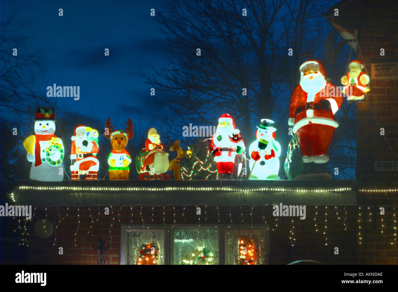 external christmas decorations on roof in garden