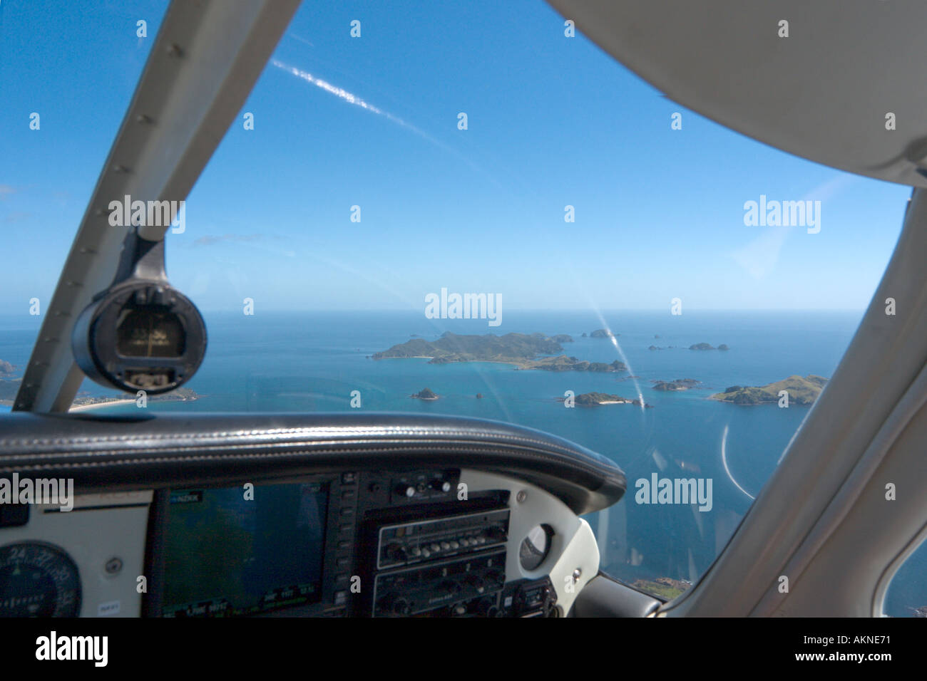 Aerial view from a small plane over the Bay of Islands, Northland, North Island, New Zealand - Stock Image