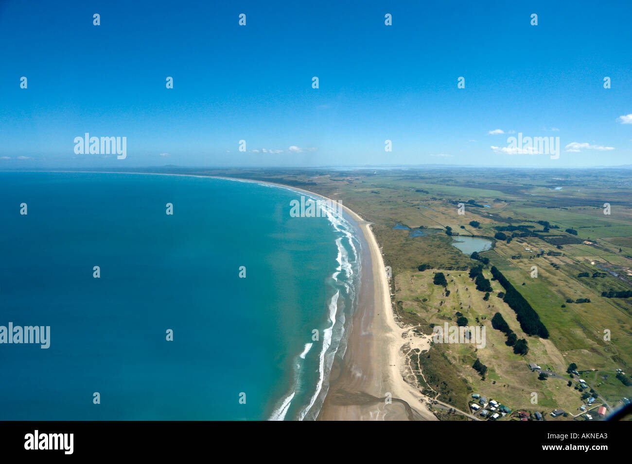 Aerial view of  Ahipara Beach from a small plane, part of Ninety Mile Beach,  Northland, North Island, New Zealand - Stock Image