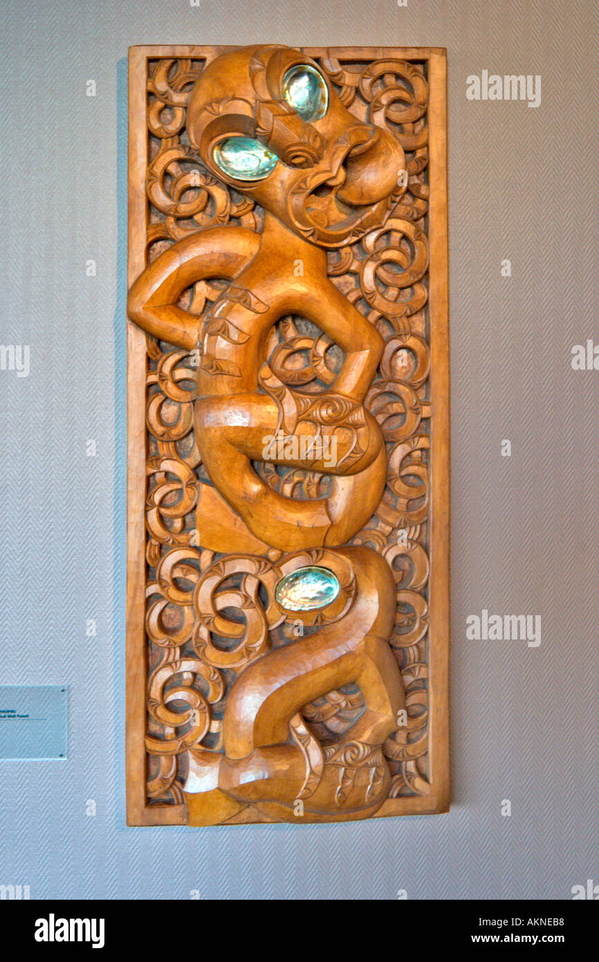 An Ancestral Wall Panel (a Poupou), Maori Arts and Crafts Institute, Whakarewarewa, Rotorua, North Island, New Zealand - Stock Image