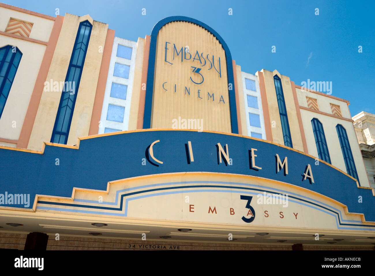 Art Deco Embassy Cinema on Victoria Avenue in the town centre, Wanganui, North Island, New Zealand - Stock Image