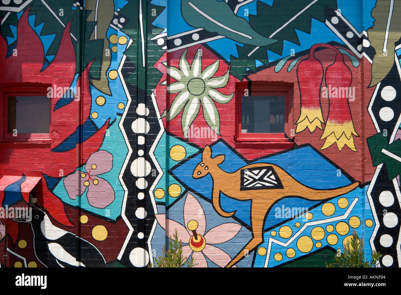 Mural on Wall of Victory Theatre, Blackheath, Blue Mountains, New South Wales, Australia - Stock Image