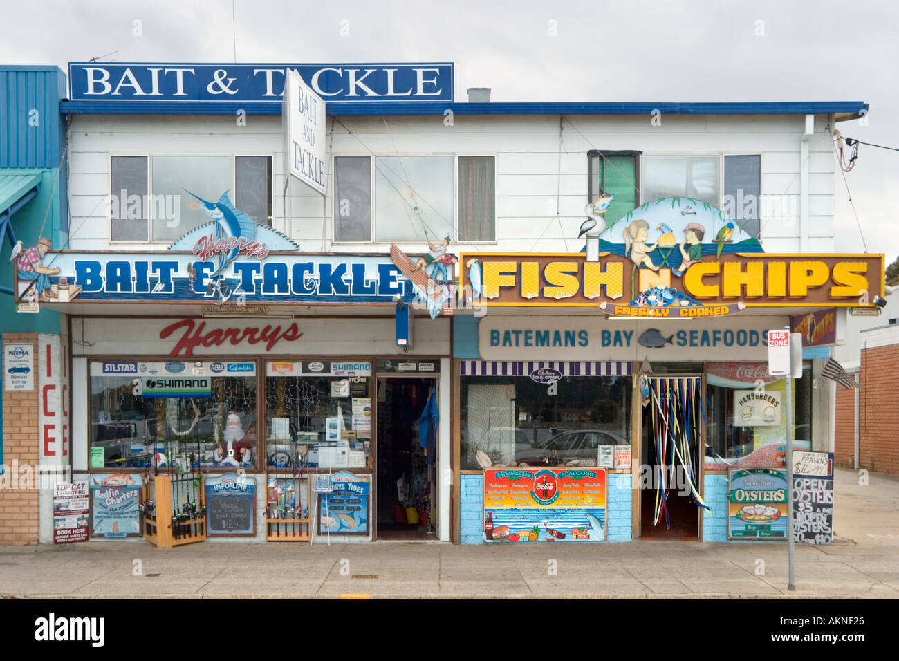 Bait and Tackle and Fish and Chip shops,  Batemans Bay, South Coast, New South Wales, Australia - Stock Image