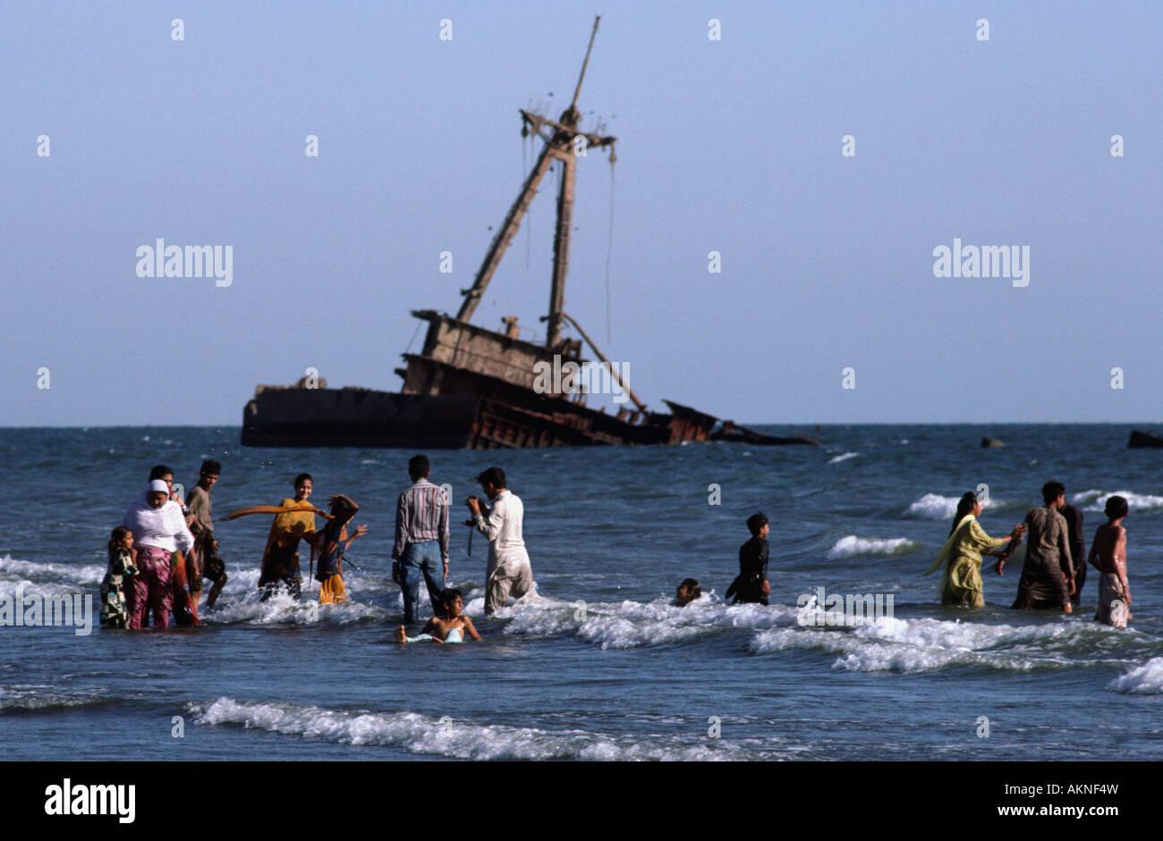 Pakistanis relaxing at Clifton Beach  Karachi, Sind