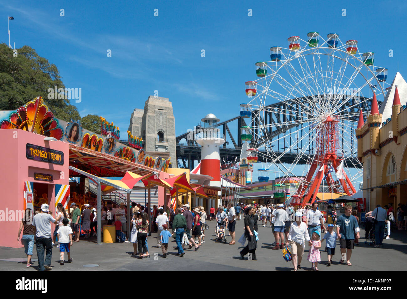 Luna Park with the Harbour Bridge behind,  Milsons Point, Sydney, New South Wales, Australia - Stock Image