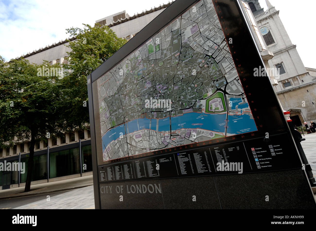 City of London map and sign England UK - Stock Image