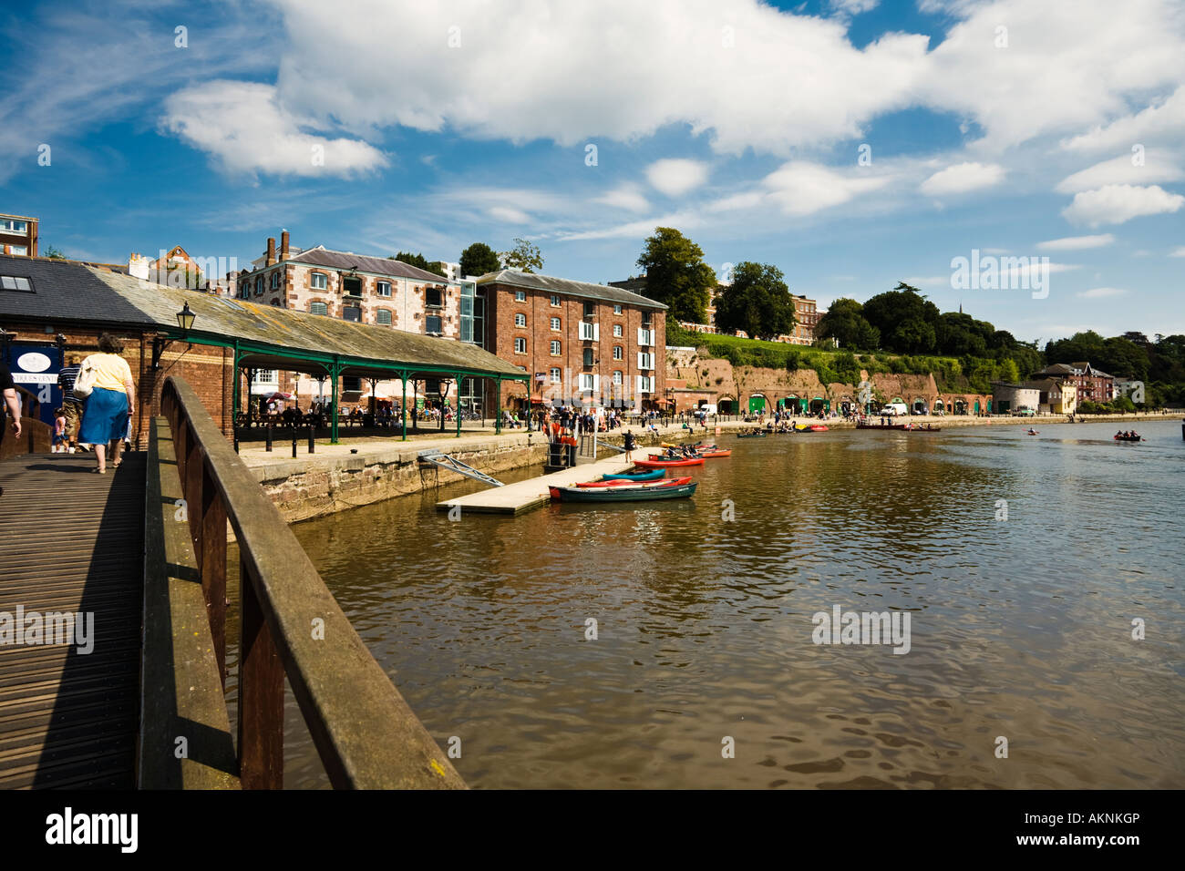 Boathouse and converted warehouse apartments at Exeter Quay, Exeter, Devon, UK - Stock Image
