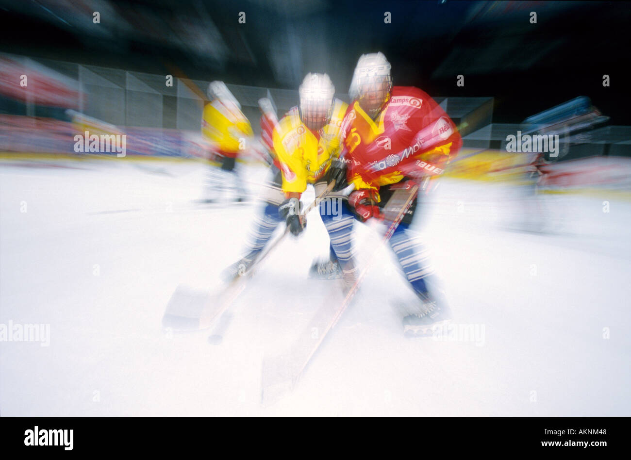 Germany Free time Young persons playing ice hockey  - Stock Image