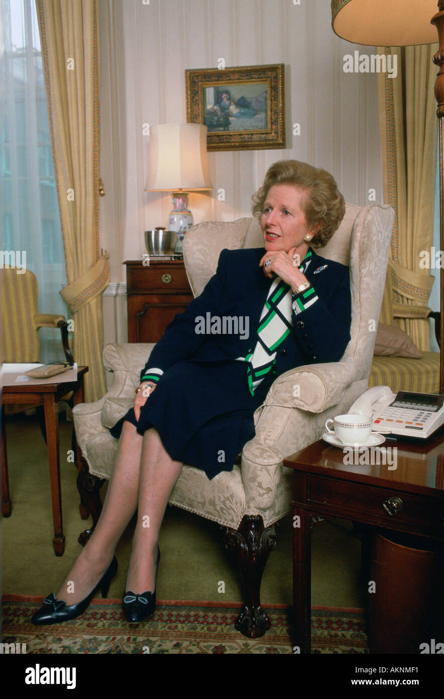 British Prime Minister Margaret Thatcher private session in living room at 10 Downing Street London United Kingdom - Stock Image
