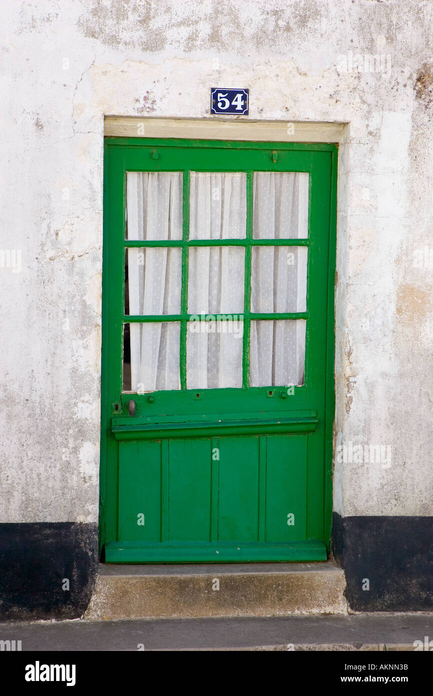 Traditional door at number 34 Ile De Re France - Stock Image