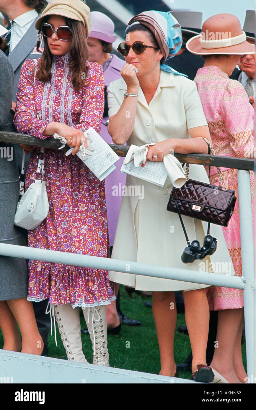 Racegoers at the Derby in the 1970s England United Kingdom - Stock Image