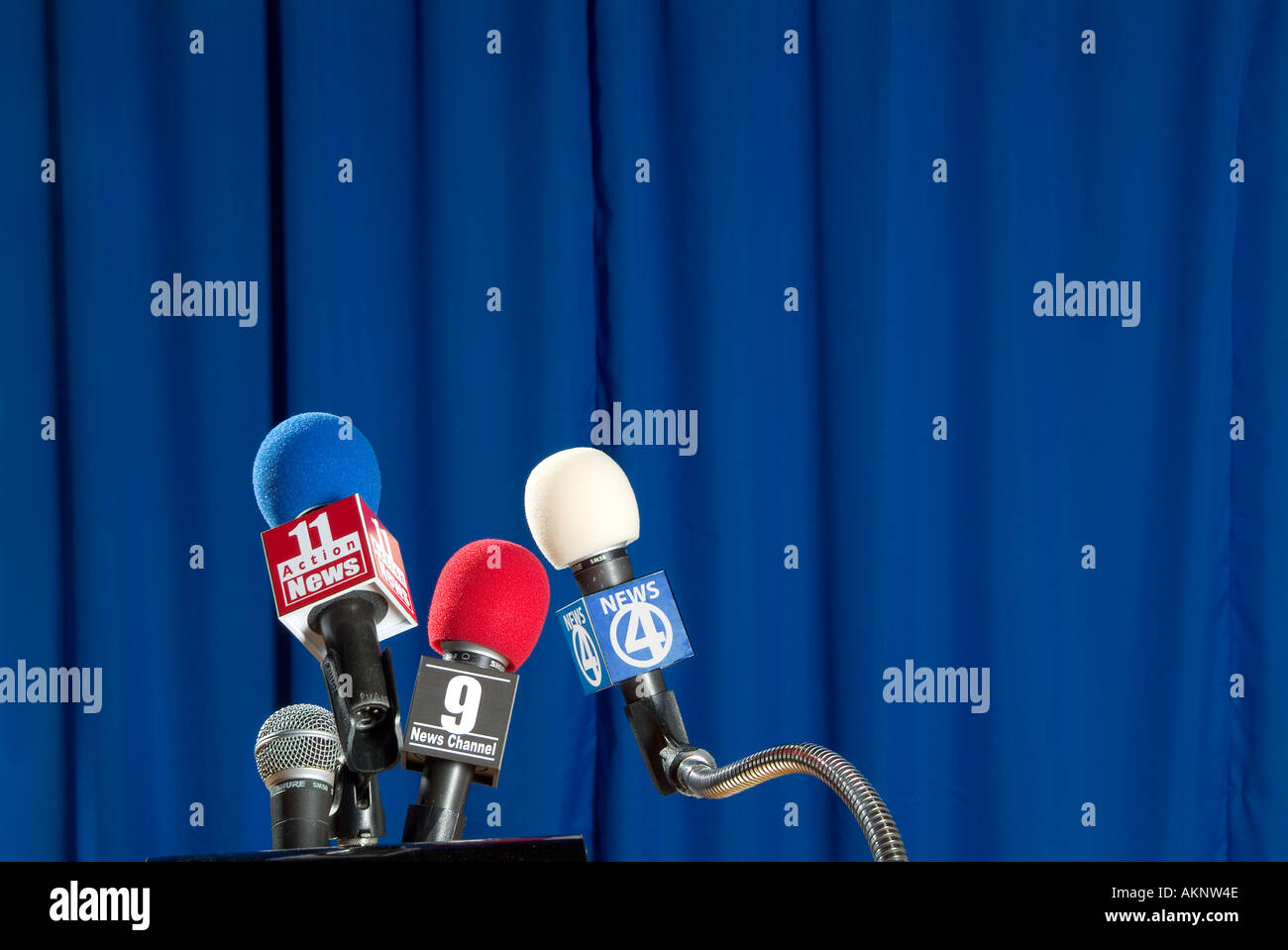 Microphones Before News Conference - Stock Image