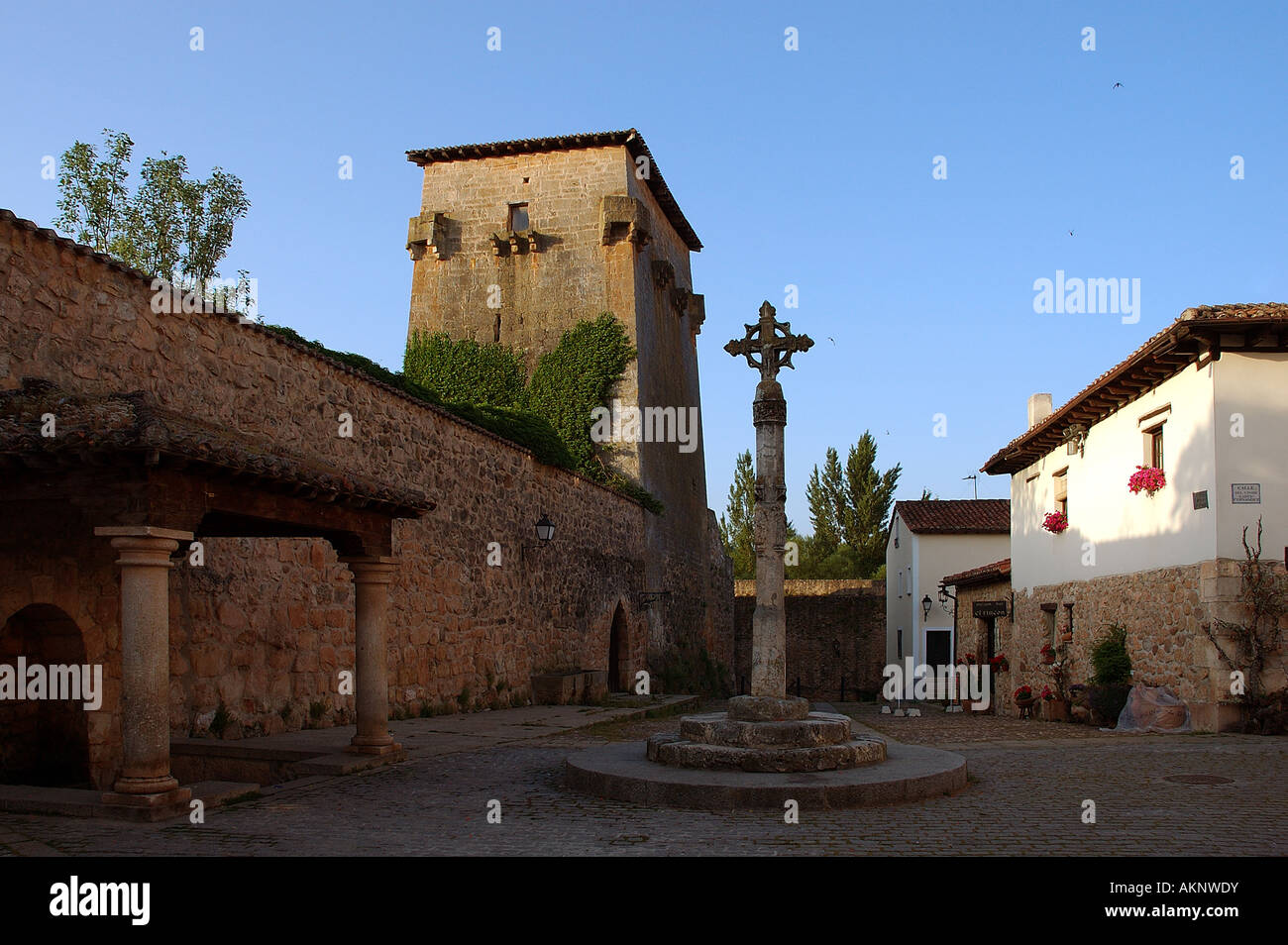 The ancient market town of Covarrubias is famous as one of Spain's most beautiful and well preserved - Stock Image