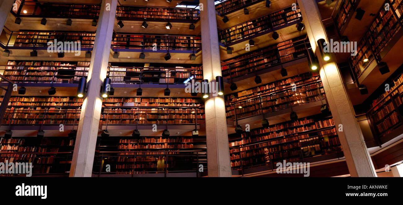 Panorama of interior book stacks at Thomas Fisher Rare Book Library at University of Toronto - Stock Image