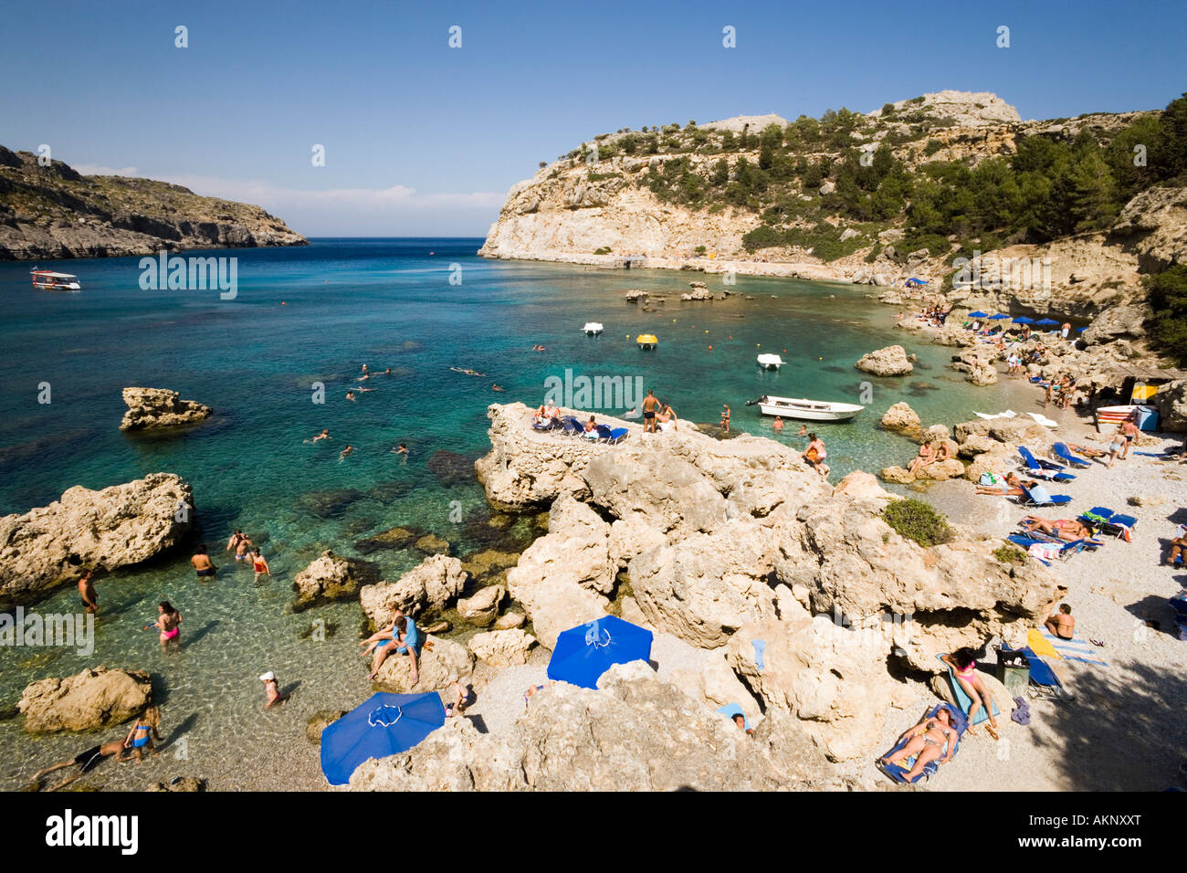 view over beach at anthony quinn bay film location of the film the stock photo 15046175 alamy. Black Bedroom Furniture Sets. Home Design Ideas