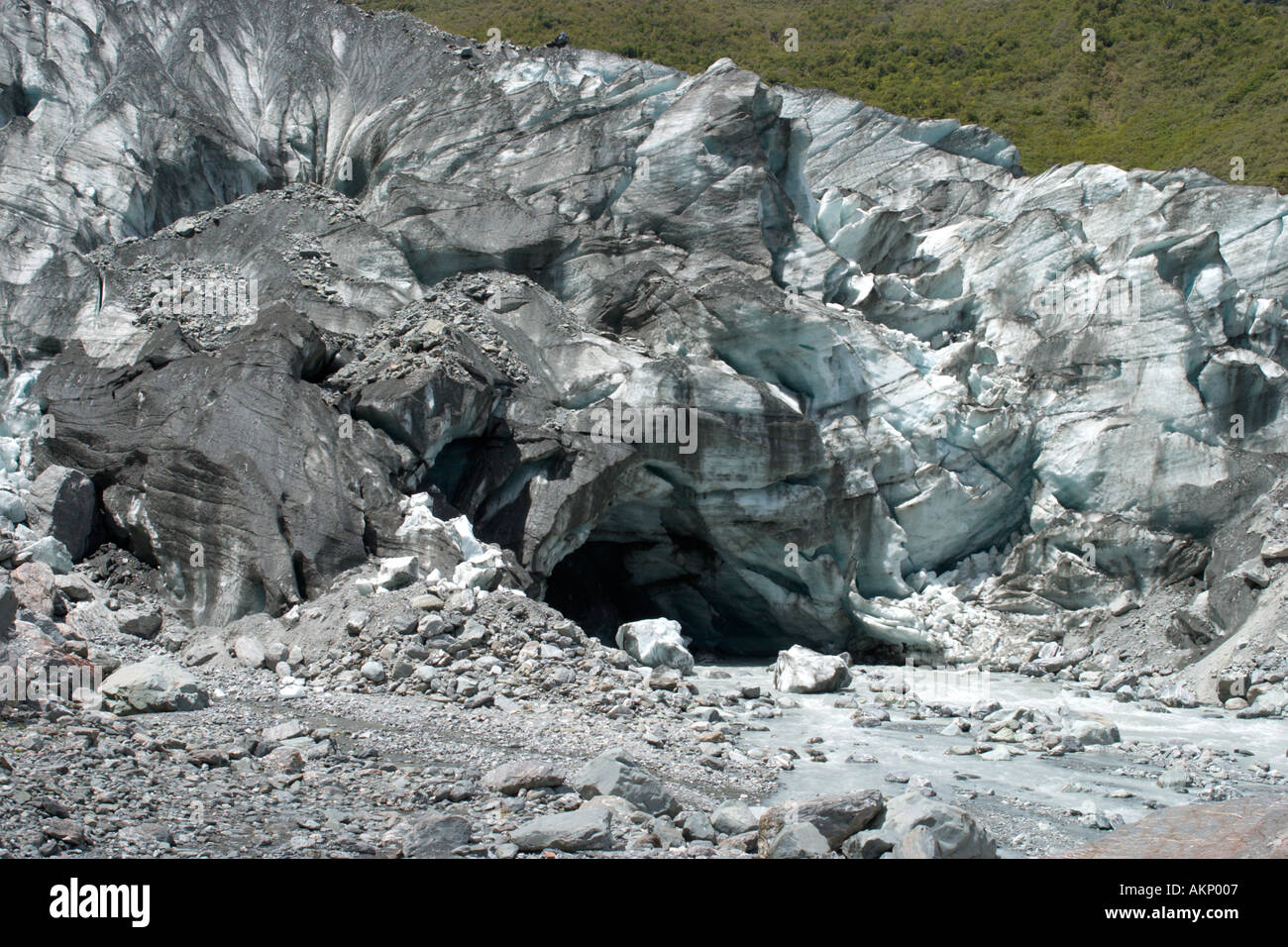 The terminal (foot) of Fox Glacier, South Island, New Zealand - Stock Image