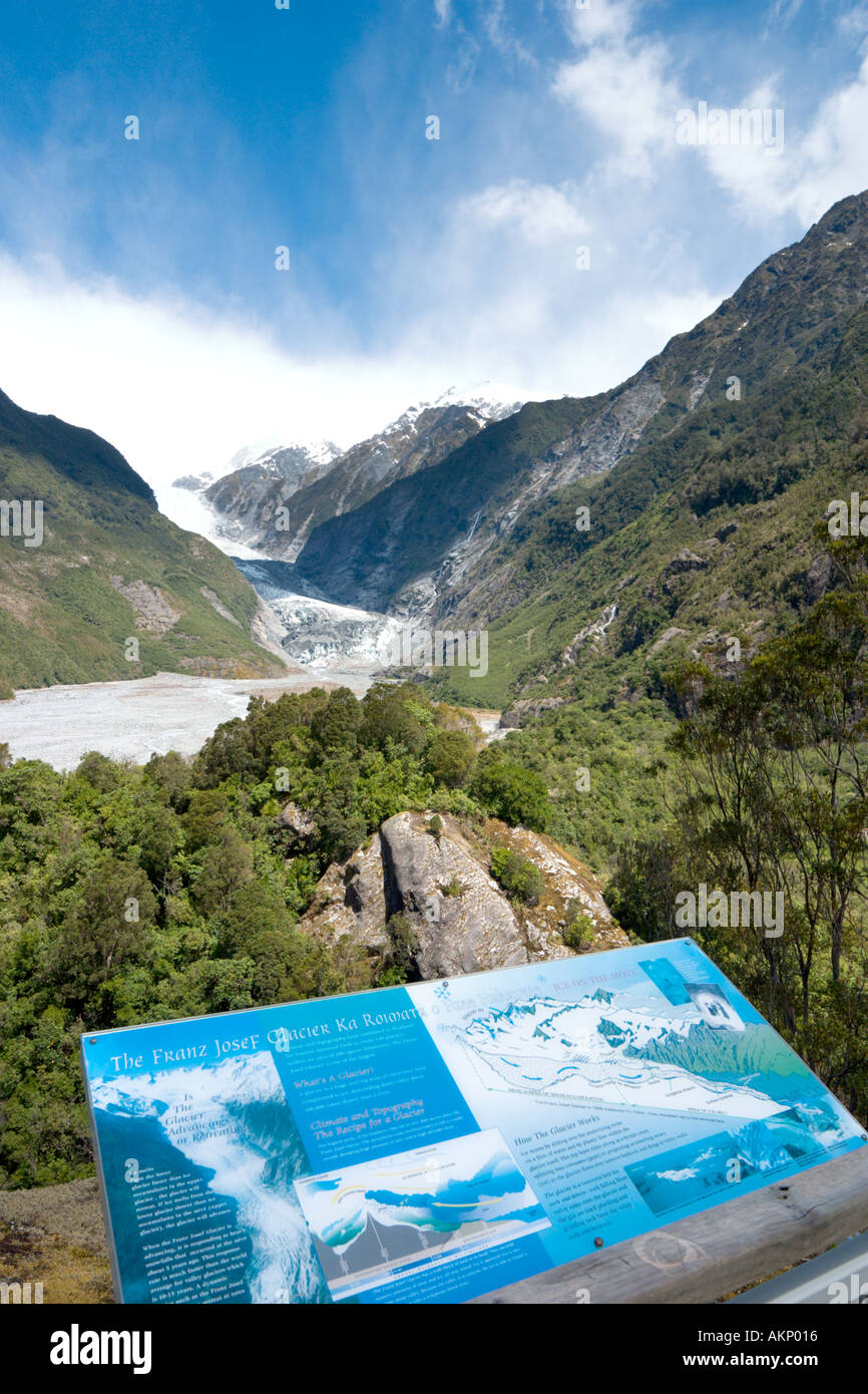 Viewpoint looking towards Franz Josef Glacier, South Island, New Zealand - Stock Image