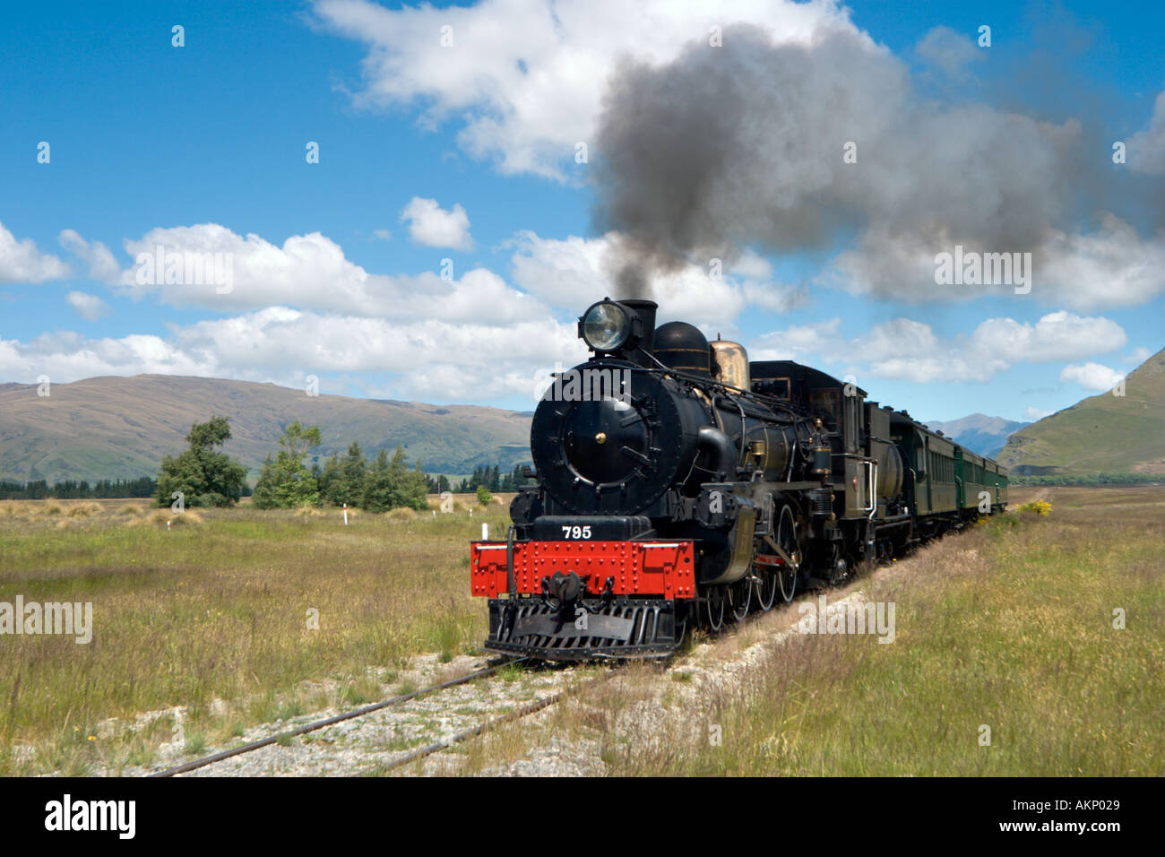 The Kingston Flyer steam train just outside Kingston, near Queenstown, South Island, New Zealand Stock Photo