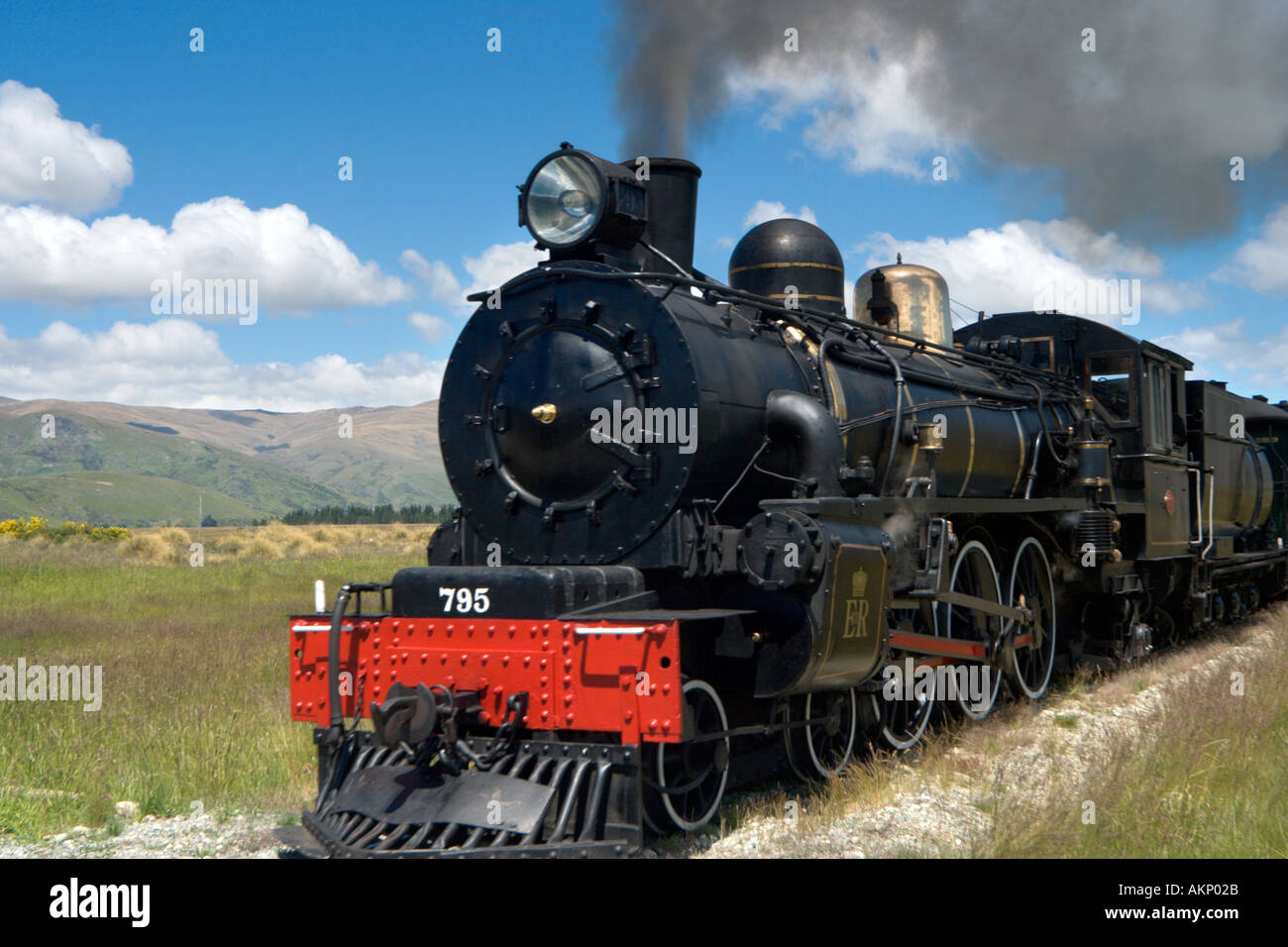 The Kingston Flyer steam train just outside Kingston, near Queenstown, South Island, New Zealand - Stock Image