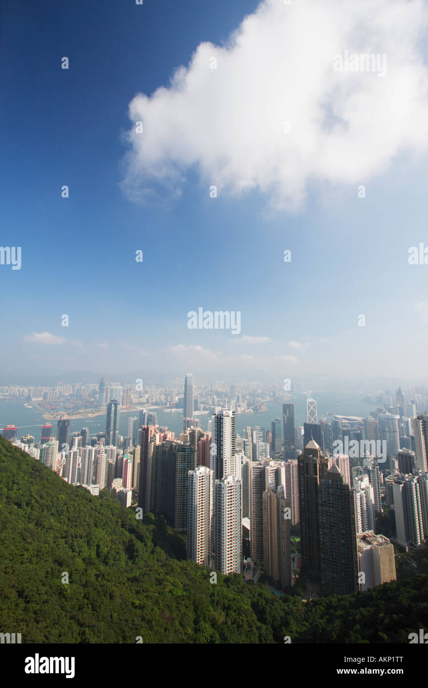 Clear View Of Hong Harbour And Kowlon From Peak Hong Kong - Stock Image