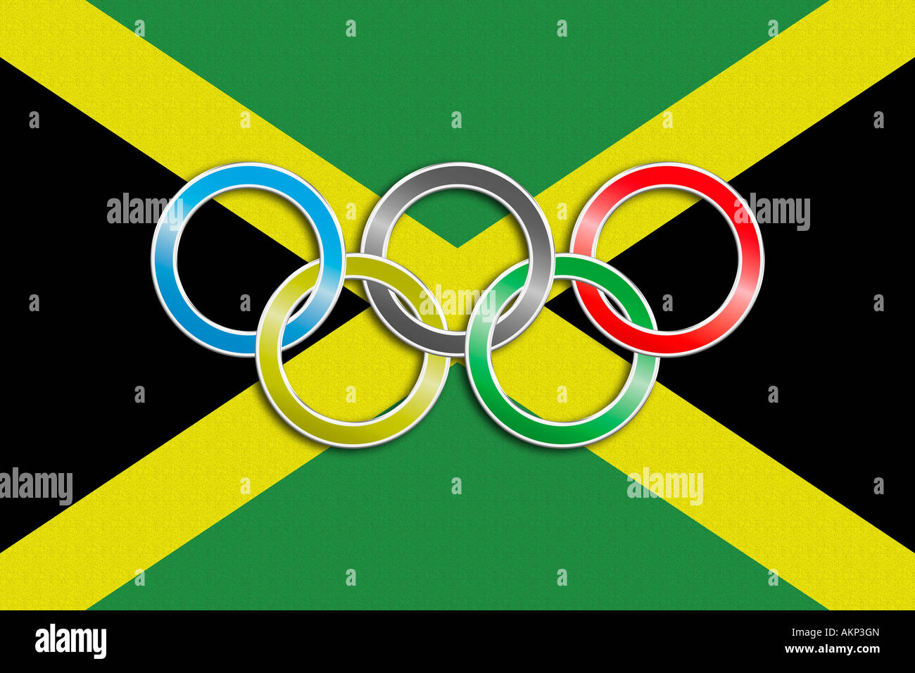 Flag Of Jamaica With Olympic Symbol Stock Photo 15047732 Alamy
