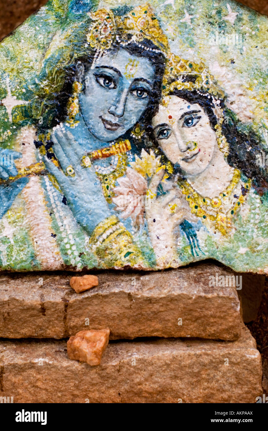 Krishna and Radha painted on a stone. Andhra Pradesh, India - Stock Image