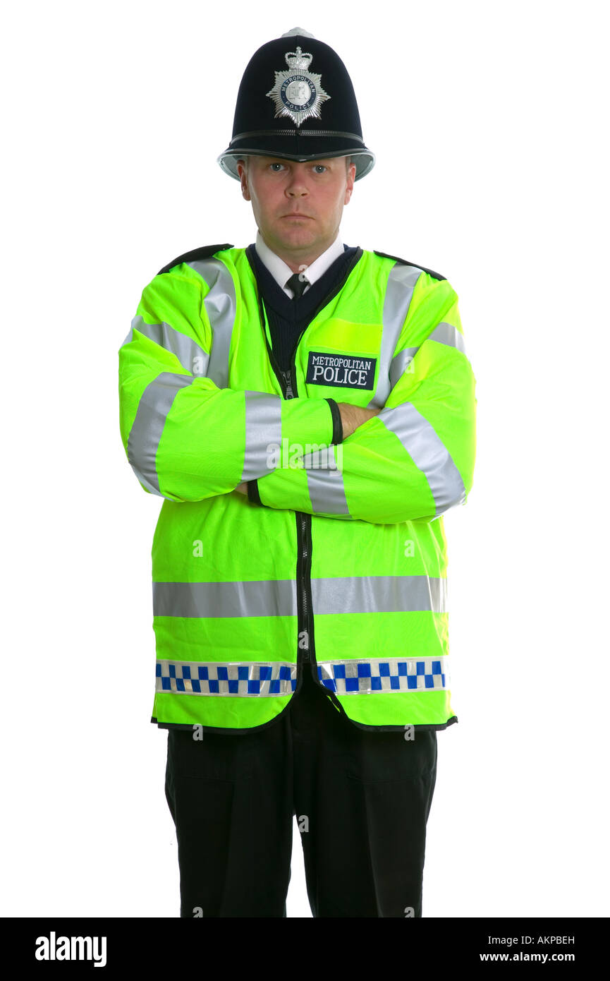 Metropolitan Police Officer in a Hi Visibility jacket and wearing a traditional custodian helmet Stock Photo