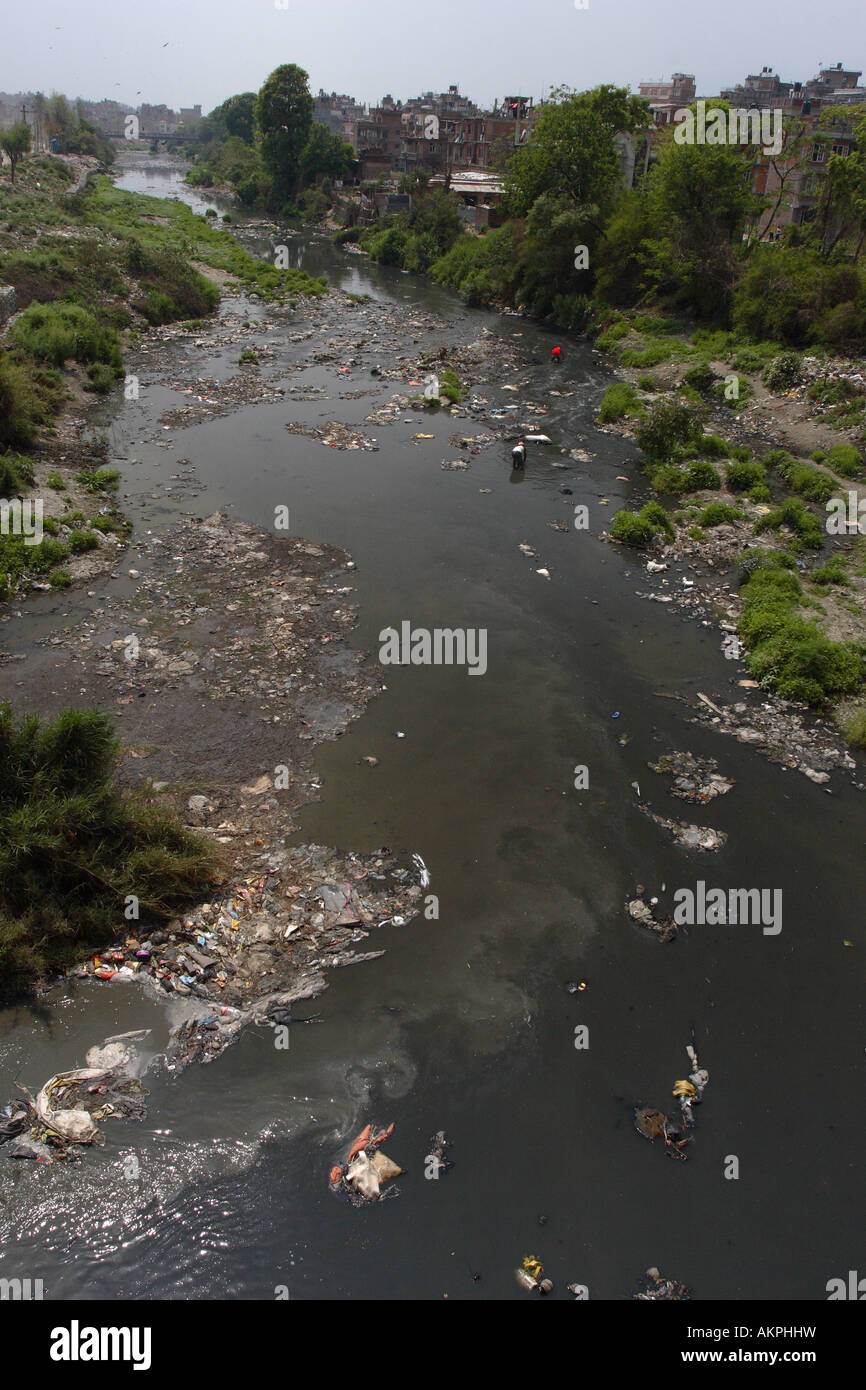 River Pollution in Kathmandu - Stock Image
