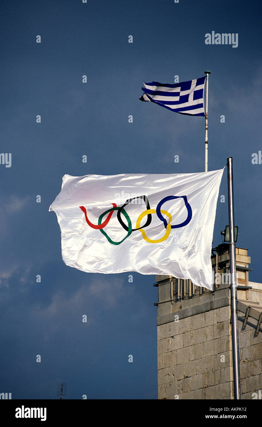 Athens the Greek and Olympic flag - Stock Image