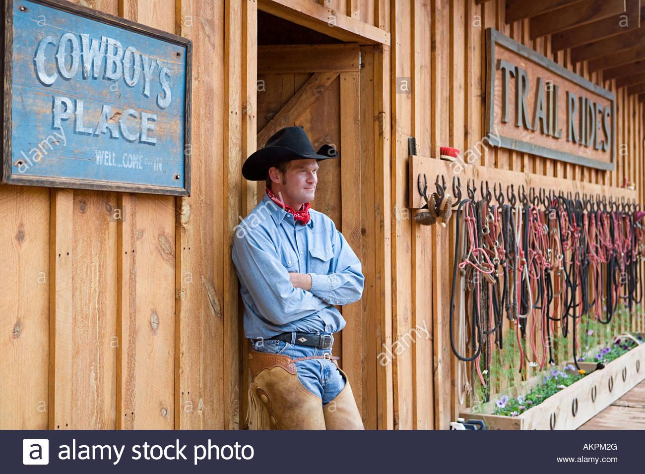 Cowboy at ranch - Stock Image