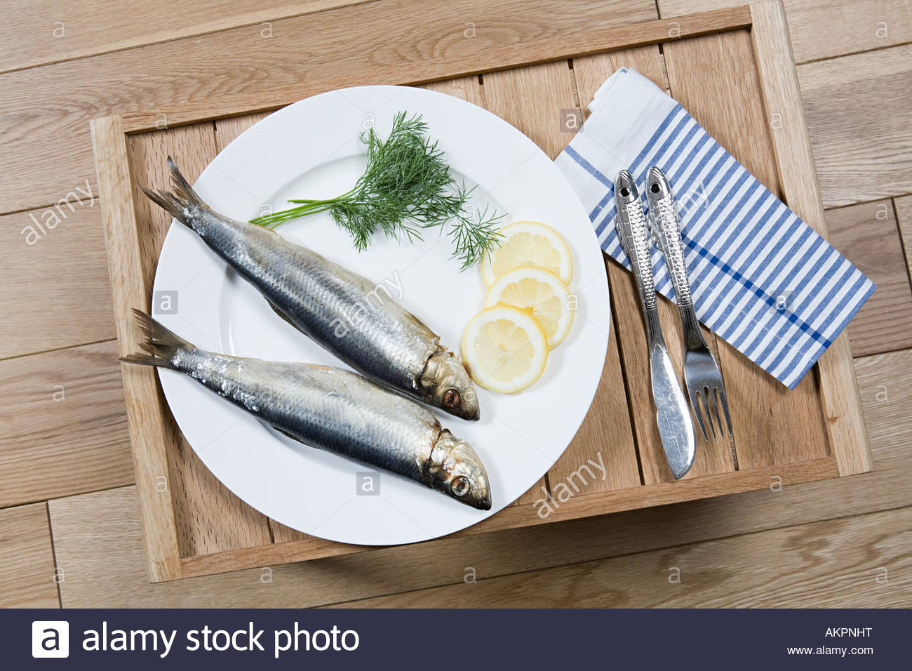 Meal of fish on a tray Stock Photo
