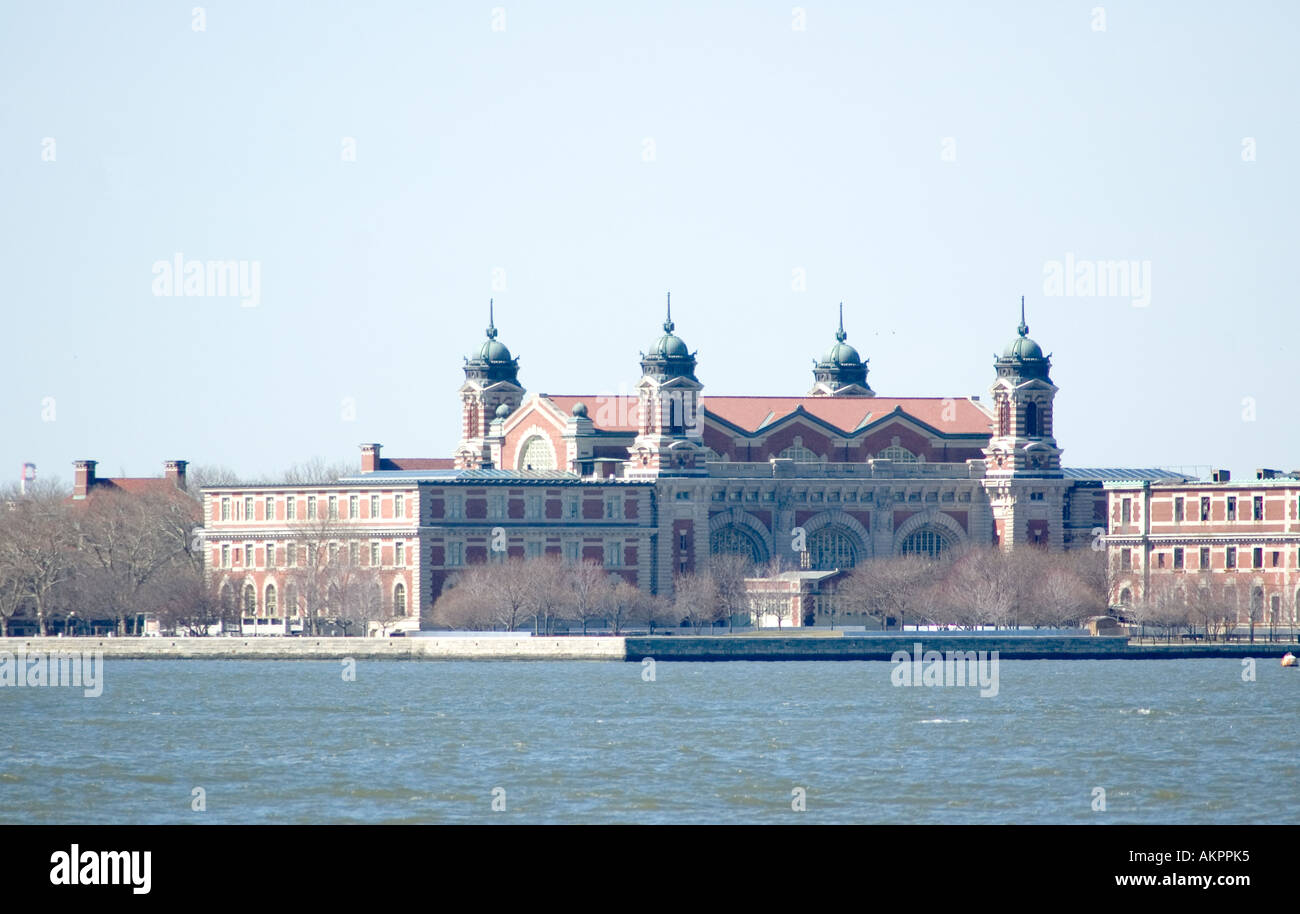 A view of Ellis Island from the Liberty Island ferry - Stock Image