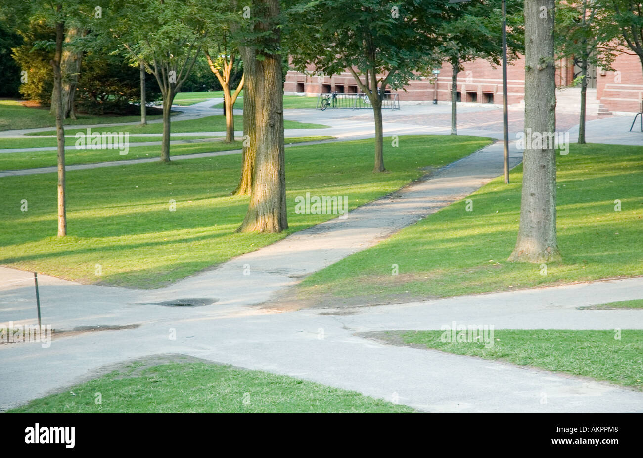 Harvard Yard at Harvard University in Cambridge Massachusetts - Stock Image
