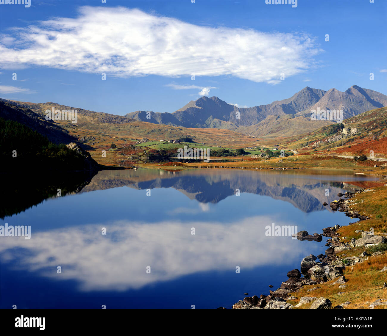 GB - WALES: Llynnau Mymbyr and Mount Snowdon - Stock Image