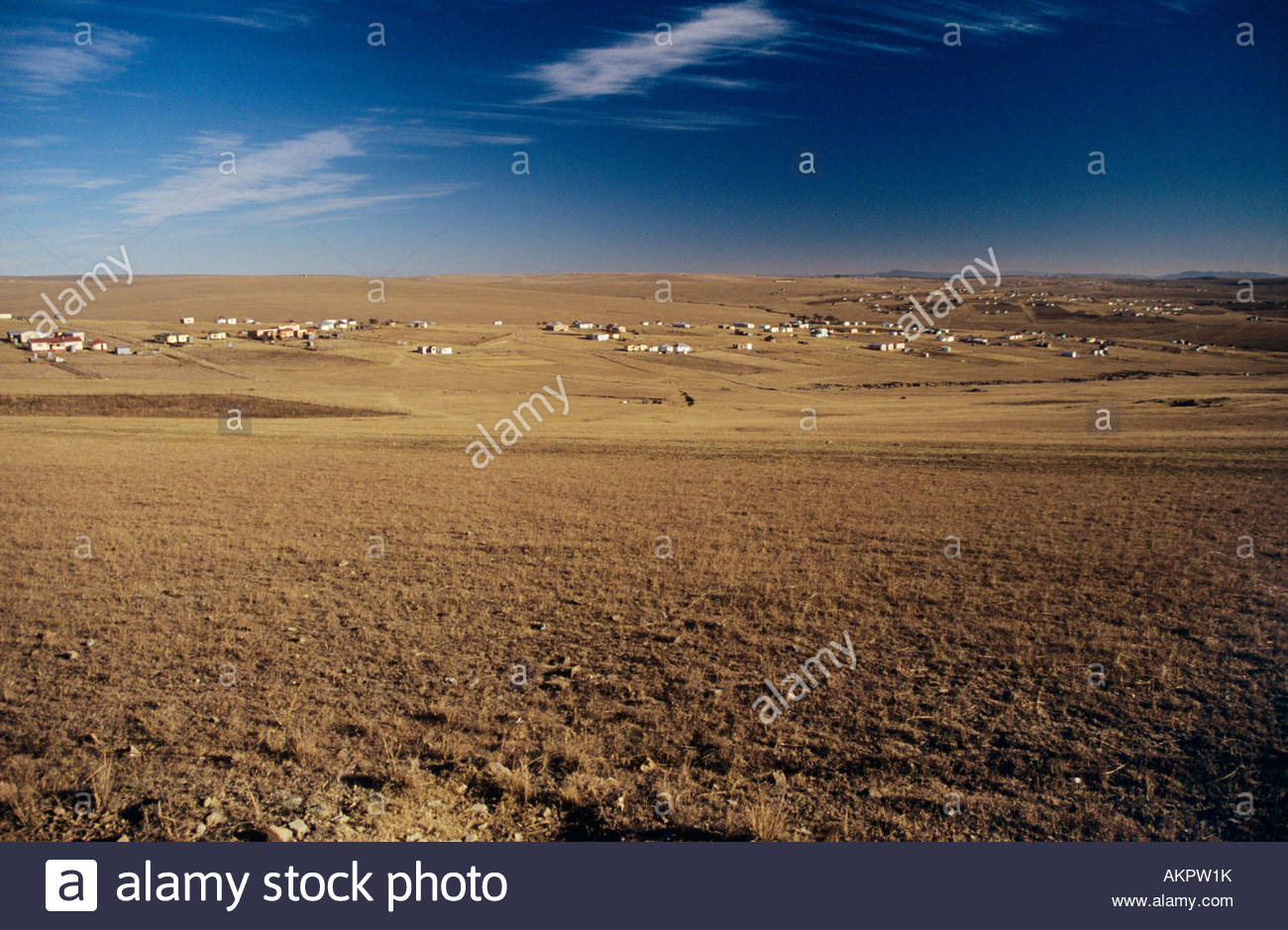 Fields and village in sout hafrica - Stock Image