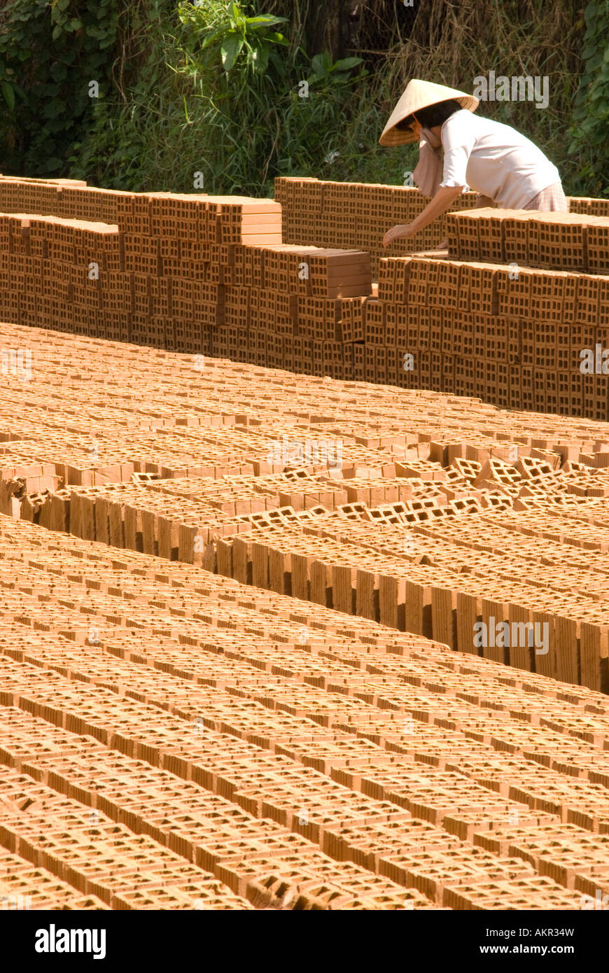 Mekong Delta brick factory in village along Dong Nai River near Phan Thiet - Stock Image