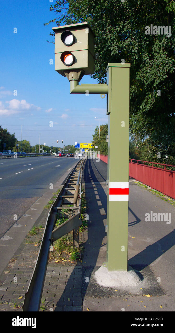 radar control, speed camera at a traffic road, measuring of the permissible speed limit Stock Photo