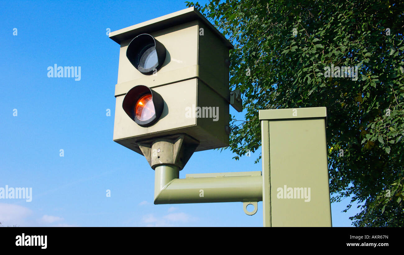 radar control, speed camera at a traffic road, measuring of the permissible speed limit - Stock Image