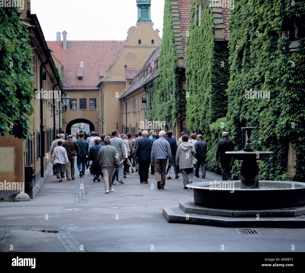 D-Augsburg, Lech, Swabia, Bavaria, Fuggerei, the Worlds oldest suburban colony founded in 1516 by Jacob Fugger The Stock Photo