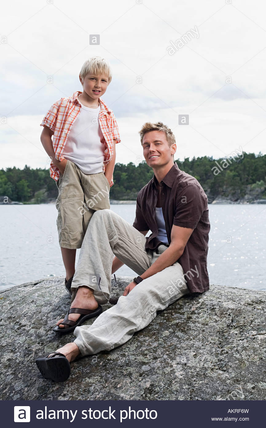 Portrait of a father and son - Stock Image