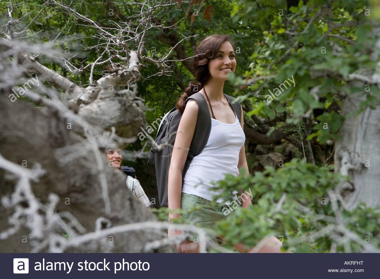 Female backpacker - Stock Image