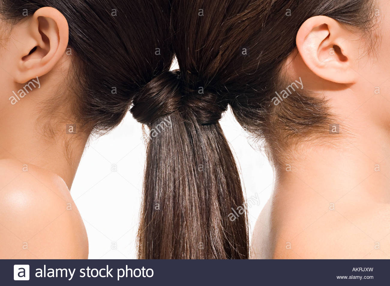Women with brunette ponytails - Stock Image