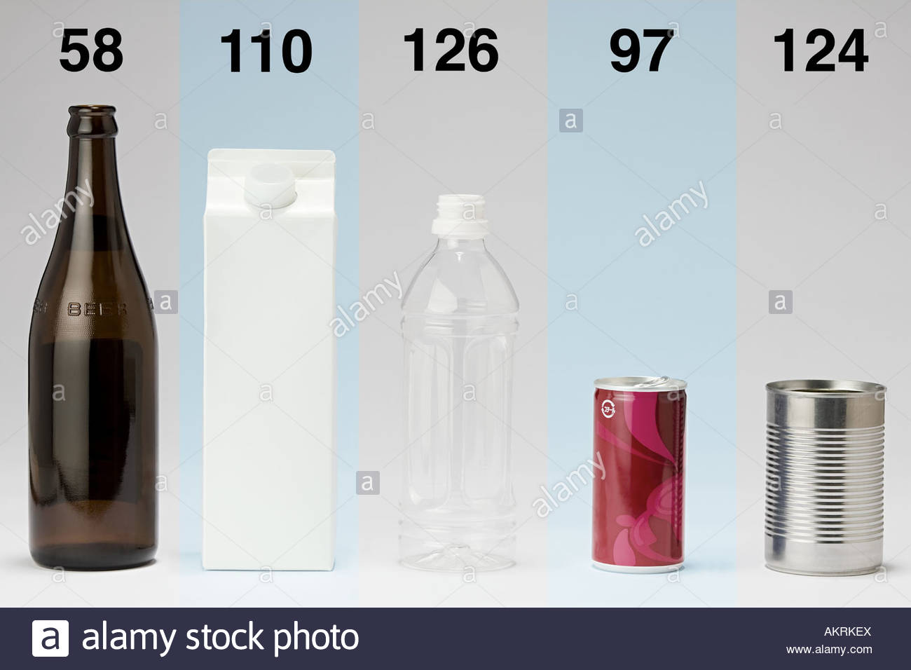 Bottle carton and tin can in a row - Stock Image