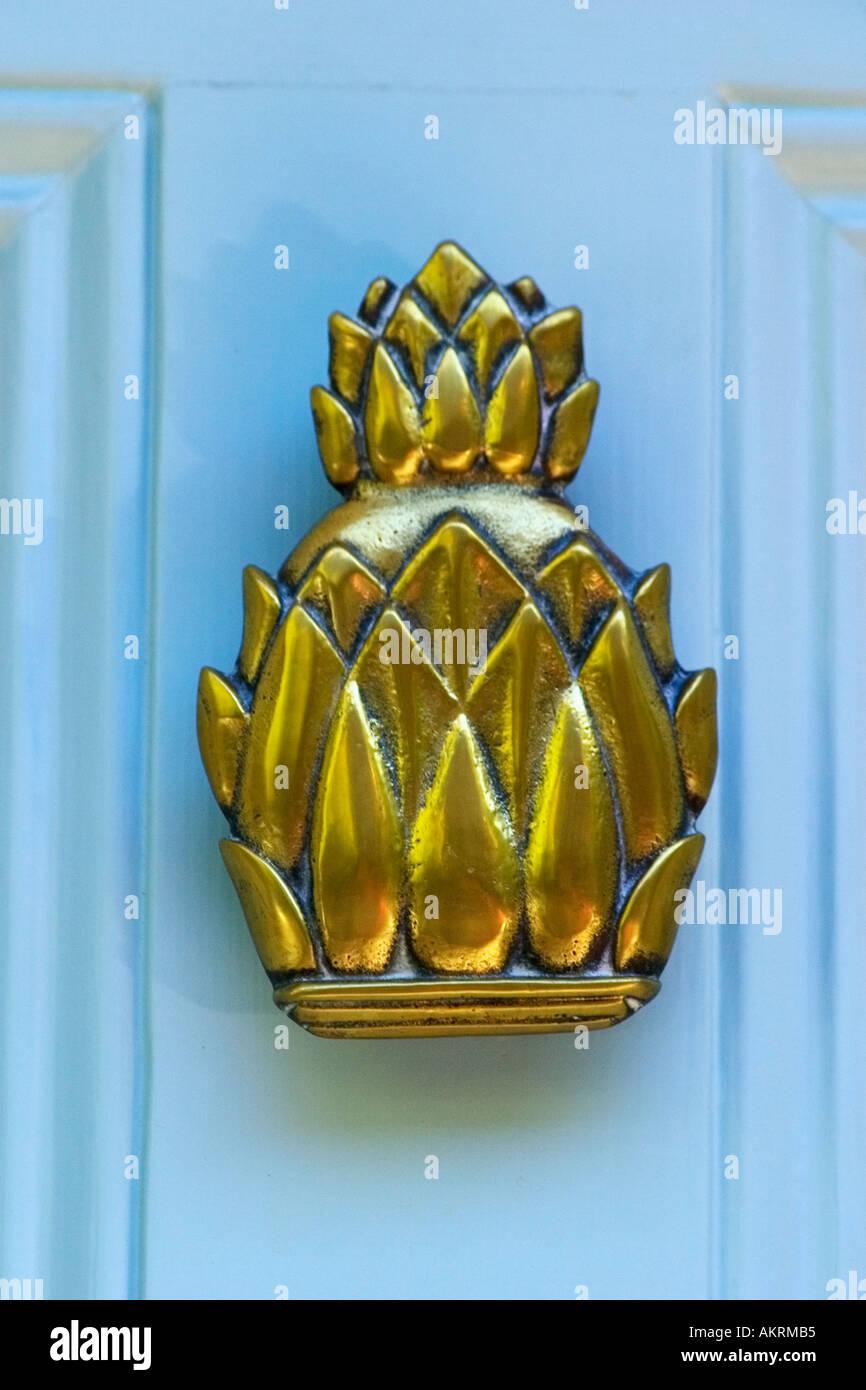 Brass Pineapple Door Knocker On Beacon Hill House Boston Massachusetts  United States Of America USA